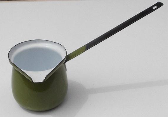 small green enamel butter melter pouring sauce pot