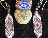 Huichol, Native American Inspired, Beaded Earrings and Ring Set