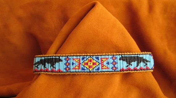 Native American Style Inspired Wolf Beaded Choker Neck Band on Deer Hide Leather