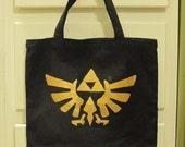 Legend of Zelda Tote - Hyrule Crest on Black Canvas
