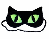 Cat Sleep Mask, Black cat eye mask, Neon green eyes, Animal totem, Animal sleeping eye mask, Cat ears, Cat cosplay costume, Gift for her him
