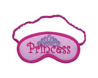 Princess sleep mask,  Tiara eye mask, Pink and violet embroidered sleeping eyemask, girly sleepmask, purple pastel crown, Gift for queen