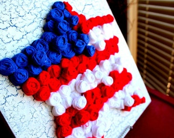 FlaG StaR Twisted Fabric Crackled Art on Canvas 4th July Shabby Chic Americana