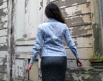 vintage Denim jacket Pastel Light Blue Studs and Rhinestone Flower CUTE