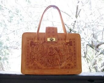 Hand tooled Leather Purse Mexico vintage Boho handbag