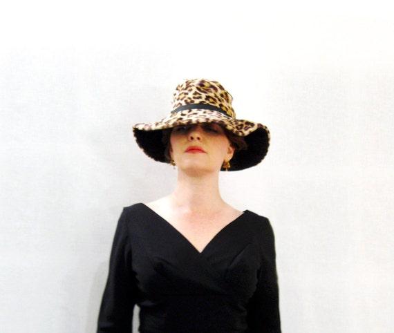 Reserved for Valerie vintage1960s Leopard hat wide brim Great faux fur leopard 60s Mod floppy hat