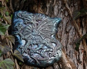 Dragon Stone Art Sculpture, Welsh Dragon Wall Plaque, Paisley Celtic Dragon Garden Art, Fantasy Gift