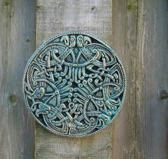Irish gift celtic eagles wall plaque stone sculpture garden