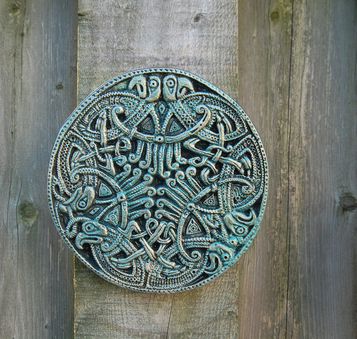 Celtic eagle mandala stone sculpture garden gift ireland