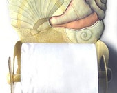 Hand Painted Metal, Tropical Bathroom Decor - Shell Design, Shell Art,  Toilet Paper Holder -Metal Art, Toilet Tissue Holder T1266-TP