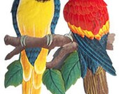 Metal Art, Parrots - Hand Painted Metal Tropical Parrot Wall Decor - Haitian Metal Wall Art - Handcrafted Tropical Garden Decor - K7024