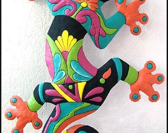"Gecko Wall Decor - Gecko Garden Decor - Haitian Painted Metal Tropical Wall Hanging - Recycled Steel Drum Garden Art - 24"" - M-402-OR-24"