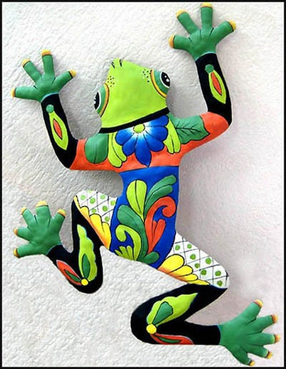 Frog Metal Art Wall Hanging Hand Painted Tropical Decor