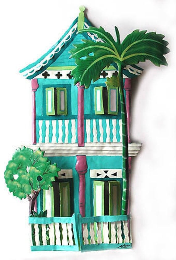 Hand Painted Metal Wall Art - Caribbean Gingerbread House Wall Hanging - Haitian Steel Drum Metal Art - Tropical Wall Decor - K-1000-TQ
