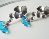 Aqua Bubble Earrings - Sparkling Apatite, Neon Blue,  Matte Rhodium Circles, Metal Earrings, Posts, Modern, Simple, Dangle, Silver
