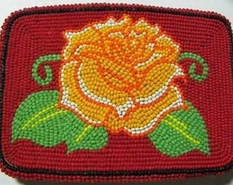 Yellow Rose of Texas Beaded Belt Buckle (6002)