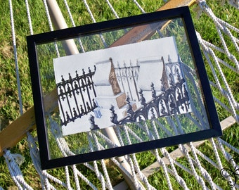 Scrolling Tombstones Watercolor Painting