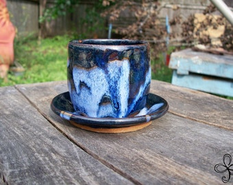 Blue and White Cup with Saucer