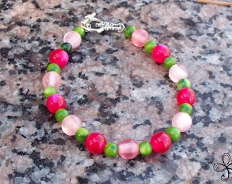Pink and Green Mushroom Kingdom Cat's Eye and Shell Bracelet