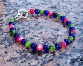 Pink and Green Shell and Blue Glass Bracelet