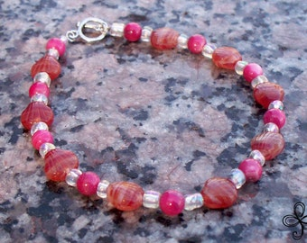 Pink Shell and Orange Czech Glass Shell Bracelet
