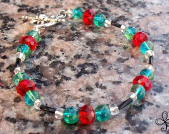 Red Crystal and Blue Glass Bracelet