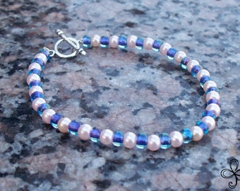Blue Seed and Pink Pearls Glass Bracelet