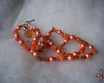 Keys to My Heart - Honey Bee Mine Necklace (Orange), Heart Bottle Charm with Key Dangles