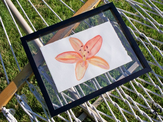 Orange Lily Watercolor Painting
