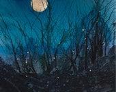 Firefly Moon, Watercolor Print, Full Moon, Night Sky, Fireflies, Stars, Magical, Silhouette, Deep Blue