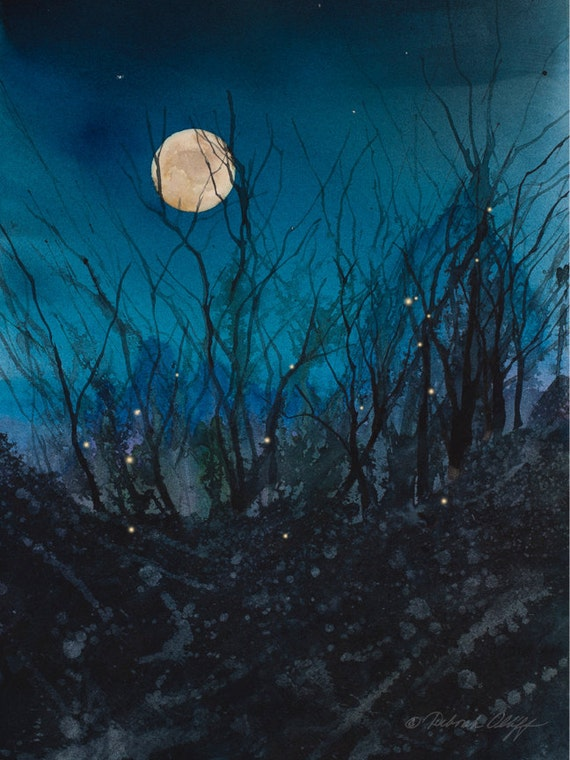 Firefly Moon by Deborah Olliff // Full Moon // Watercolor // Night Sky // Fireflies // Stars // Magical