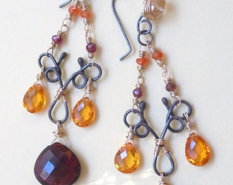 Sterling Silver and 14k Gold Filled Earrings and AAA Grade Red Quartz and Yellow Corundum Quartz