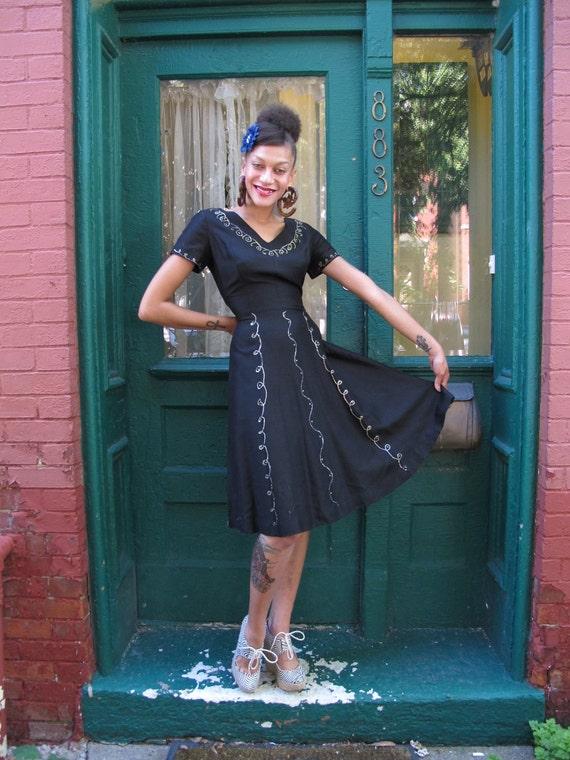 Dress 1950s Vintage 50s Rockabilly Full Skirt Mad Men Black Cocktail