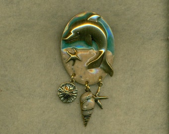 Dolphin Brooch Enameled Sea Shells Vintage Blue Gold Pin  (VPB-105)