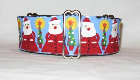 LAST ONE Santa Claus In A Row Martingale Collar (2 inch) Christmas winter fun tree