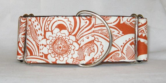 SALE -Tribal Orange Martingale Dog Collar - 1.5 Inch - scroll swirl flower cream