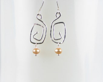 Fine silver pearls boxy funky earrings champagne pearls