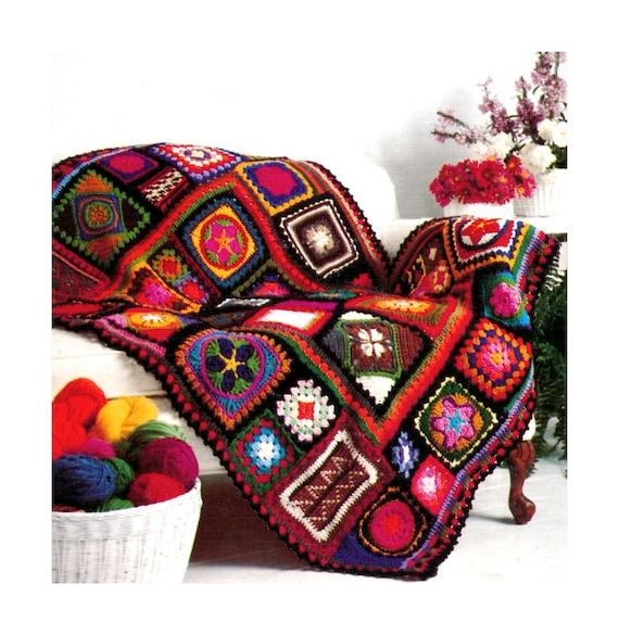Vintage Crochet Pattern 1970s Granny Square Afghan Crazy
