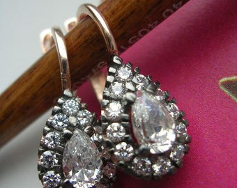 victorian inspired earrings look pear cut shape sterling elegant romantic jewel