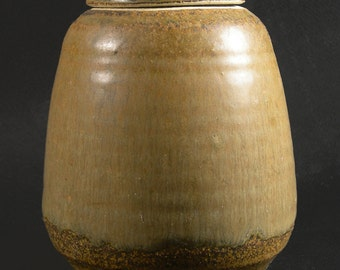 Stoneware Covered Jar with Soft Green Ash Glaze