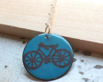 "Turquoise Blue and Red Enamel Necklace  ""I Heart My Bike"""