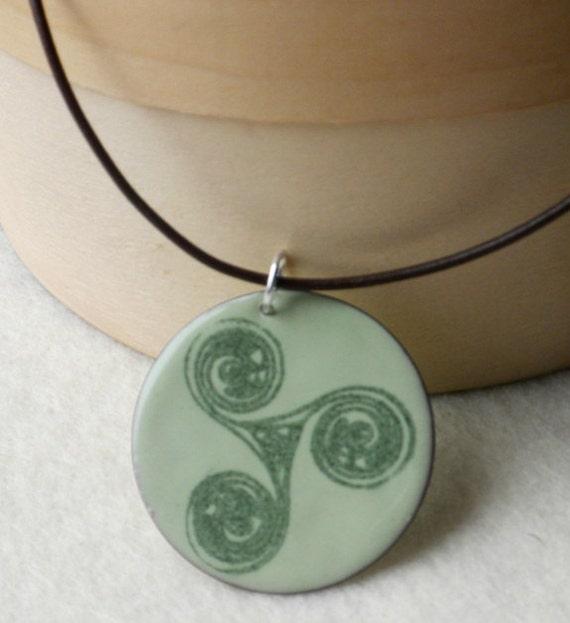 Celtic Triskel Enamel Pendant on Leather Cord