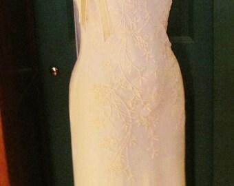 Elegant Feminine Porcelian Colored Beaded Wedding Gown Spaghetti Strapped