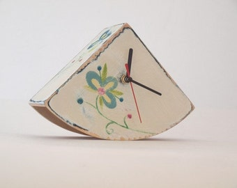 FREE SHIPPING - Desk Clock, White clock, Folk clock, flowers art, Folk art