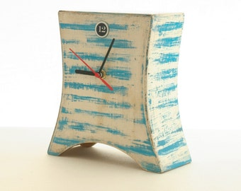 Desk Clock marine, Blue stripes, Nautical clock, Wooden Naval Clock, Summer clock, Table clock, Gift for Mom