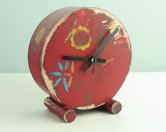 Red Desk Clock, Folk art Clock, Table Wood clock, RED Circle Clock, Folk flower, Floral ornament, Mothers day gift, Spring flowers decor
