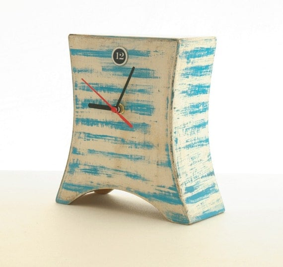 FREE SHIPPING - Desk Clock marine, Blue stripes, Nautical clock, Wooden Naval Clock, Summer clock, Table clock,