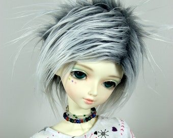 9-10 Grey (Gray) & White Faux (Fake) Fur Wig for SD BJDs, size 9/10