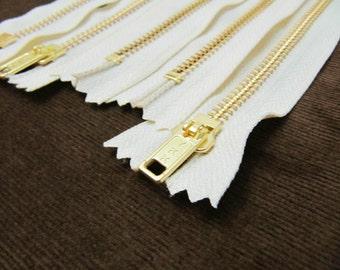 12inch - Cream Metal Zipper - Gold Teeth - 5pcs