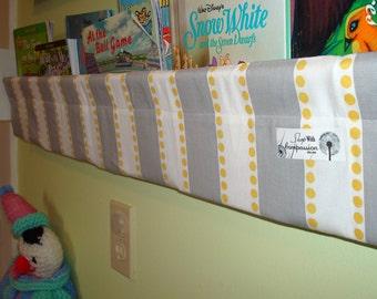book sling organizer grey yellow white stripe shelf nursery living room playroom bedroom storage
